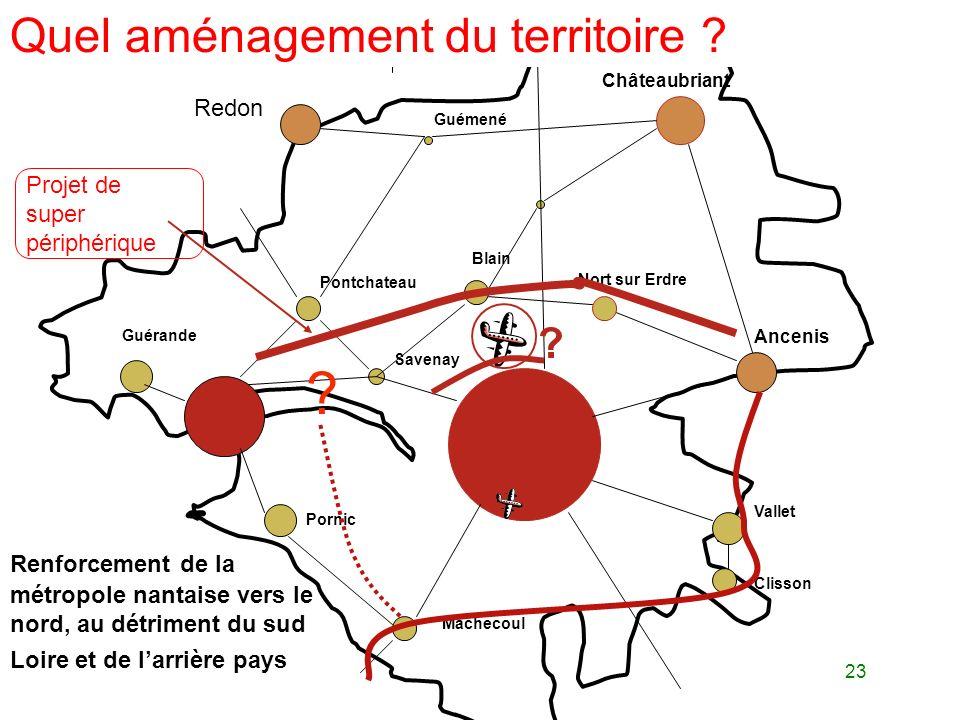 23 Pontchateau Blain Nort sur Erdre Ancenis Châteaubriant Guémené Vallet Clisson Machecoul Pornic Guérande Savenay Renforcement de la métropole nantai