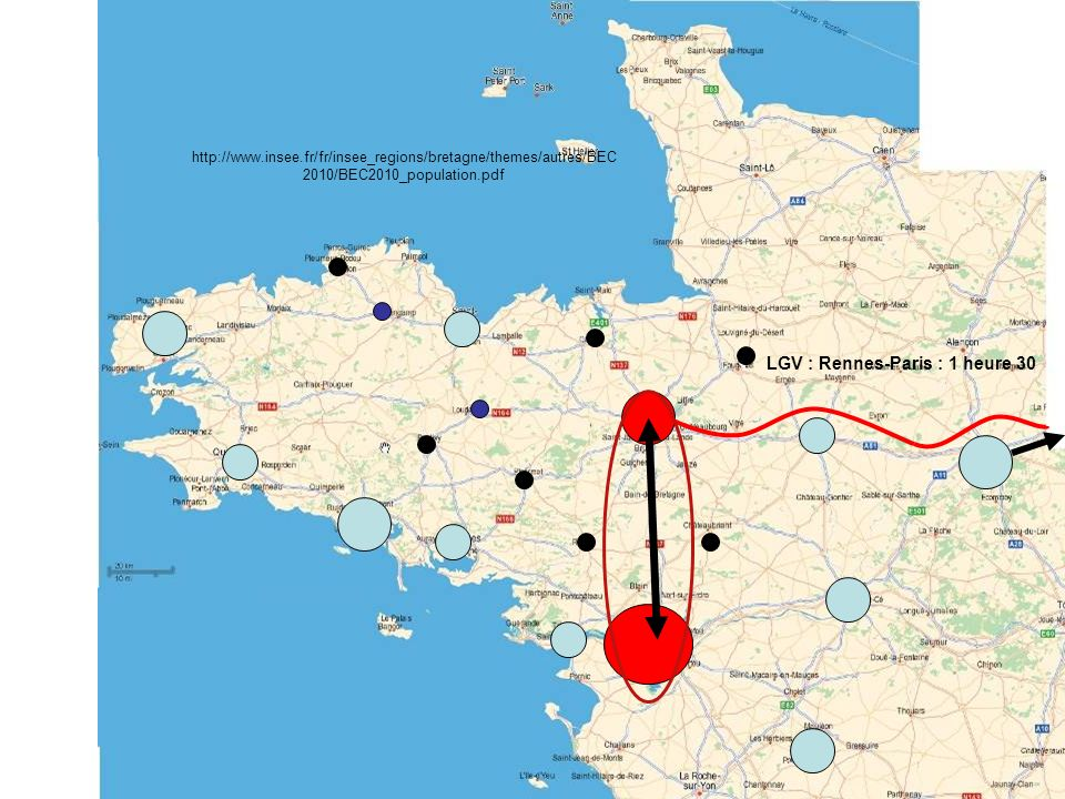 LGV : Rennes-Paris : 1 heure 30 http://www.insee.fr/fr/insee_regions/bretagne/themes/autres/BEC 2010/BEC2010_population.pdf