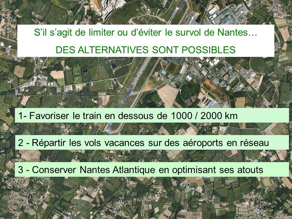 31 Sil sagit de limiter ou déviter le survol de Nantes… DES ALTERNATIVES SONT POSSIBLES 1- Favoriser le train en dessous de 1000 / 2000 km 2 - Réparti