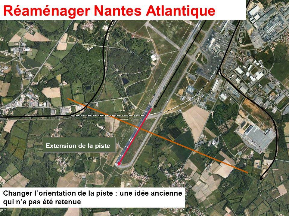 34 ZONE DIMPLANTATION POSSIBLE: 4000 X 500 m Changer lorientation de la piste : une idée ancienne qui na pas été retenue Extension de la piste Réaména