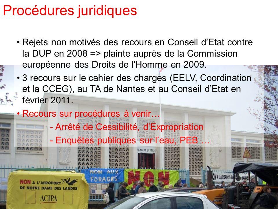 Rejets non motivés des recours en Conseil dEtat contre la DUP en 2008 => plainte auprès de la Commission européenne des Droits de lHomme en 2009. 3 re
