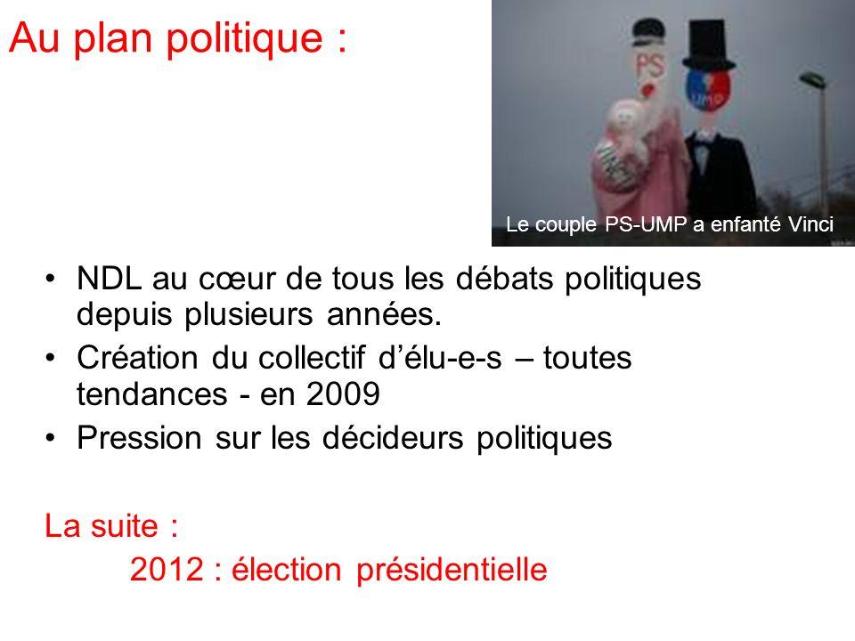 Au plan politique : NDL au cœur de tous les débats politiques depuis plusieurs années. Création du collectif délu-e-s – toutes tendances - en 2009 Pre
