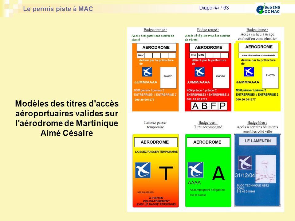Le permis piste à MAC Diapo # / 63 Modèles des titres d'accès aéroportuaires valides sur l'aérodrome de Martinique Aimé Césaire Accès côté piste sans