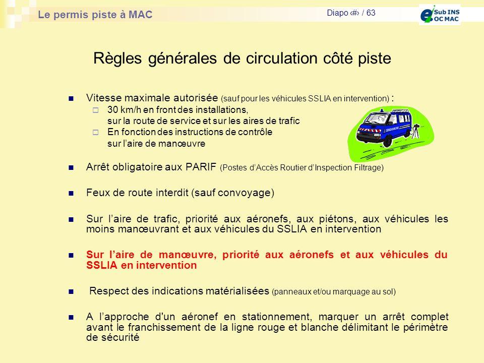 Le permis piste à MAC Diapo # / 63 Règles générales de circulation côté piste Vitesse maximale autorisée (sauf pour les véhicules SSLIA en interventio