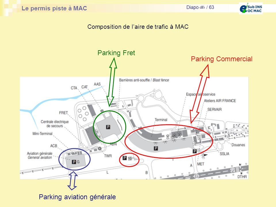 Le permis piste à MAC Diapo # / 63 Composition de laire de trafic à MAC Parking Commercial Parking Fret Parking aviation générale