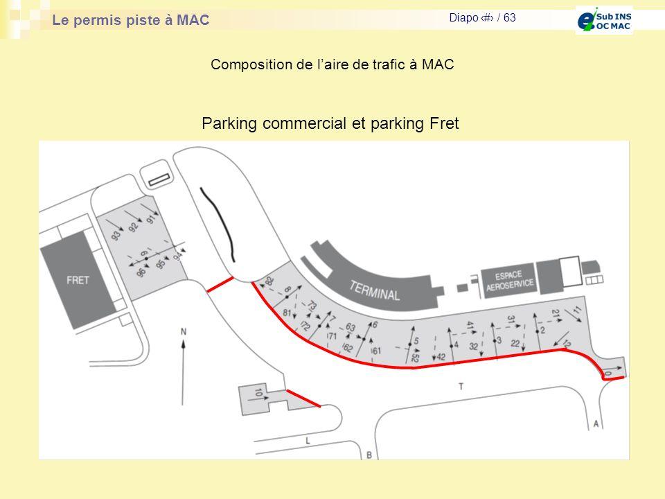 Le permis piste à MAC Diapo # / 63 Composition de laire de trafic à MAC Parking commercial et parking Fret