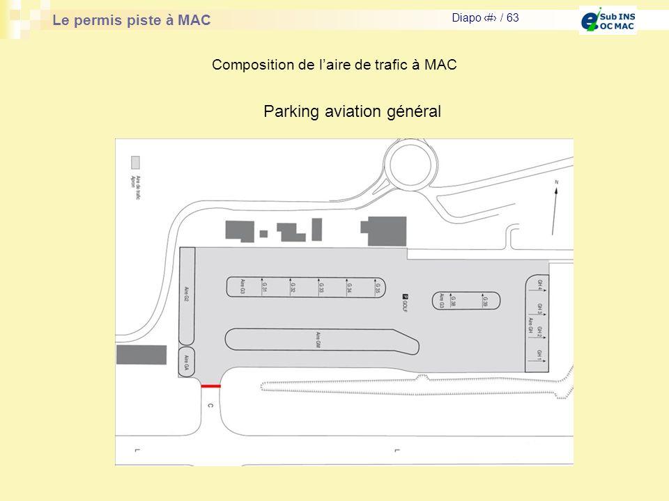 Le permis piste à MAC Diapo # / 63 Composition de laire de trafic à MAC Parking aviation général