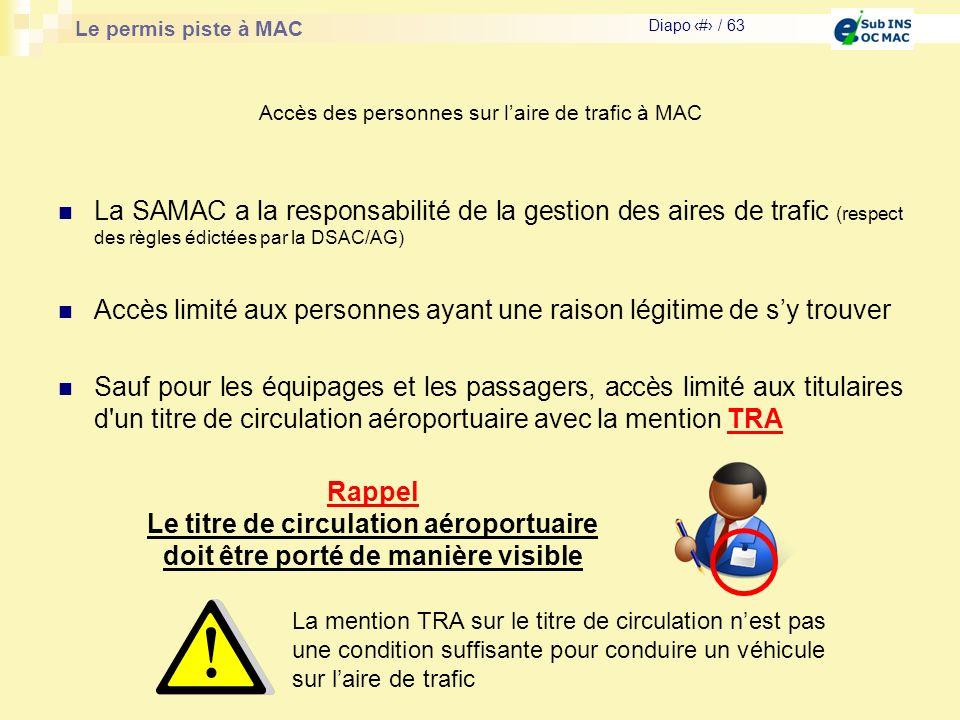 Le permis piste à MAC Diapo # / 63 Accès des personnes sur laire de trafic à MAC La SAMAC a la responsabilité de la gestion des aires de trafic (respe