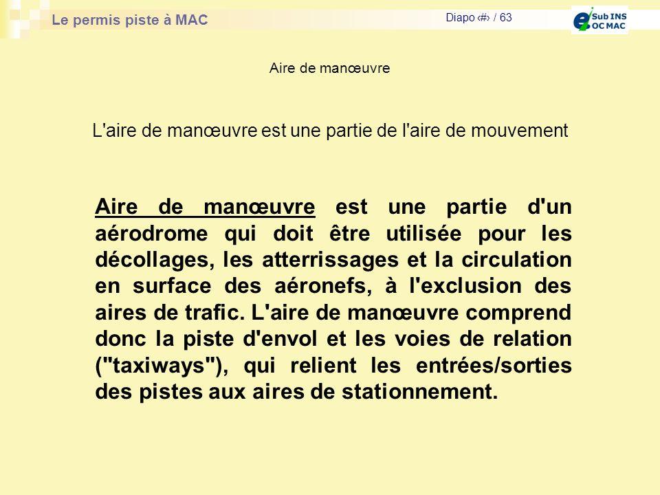 Le permis piste à MAC Diapo # / 63 Aire de manœuvre L'aire de manœuvre est une partie de l'aire de mouvement Aire de manœuvre est une partie d'un aéro