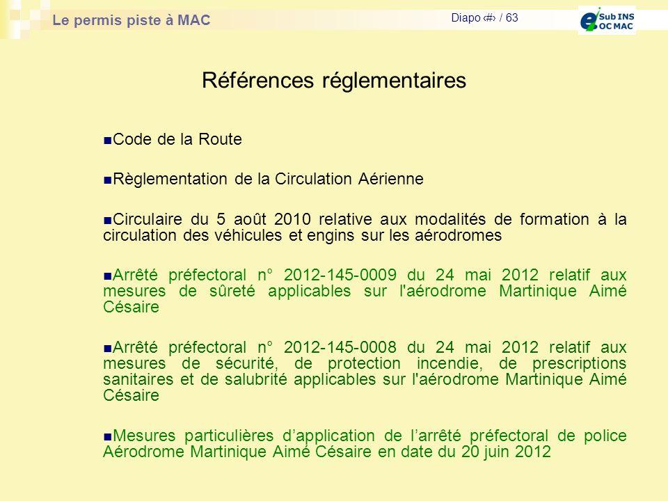 Le permis piste à MAC Diapo # / 63 Références réglementaires Code de la Route Règlementation de la Circulation Aérienne Circulaire du 5 août 2010 rela