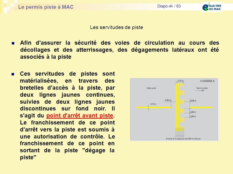 Le permis piste à MAC Diapo # / 63 Les servitudes de piste Afin d'assurer la sécurité des voies de circulation au cours des décollages et des atterris