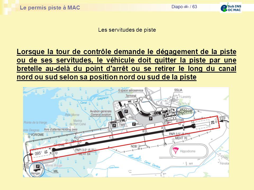 Le permis piste à MAC Diapo # / 63 Les servitudes de piste Lorsque la tour de contrôle demande le dégagement de la piste ou de ses servitudes, le véhi