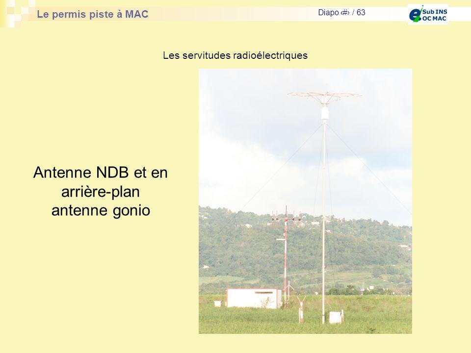 Le permis piste à MAC Diapo # / 63 Les servitudes radioélectriques Antenne NDB et en arrière-plan antenne gonio