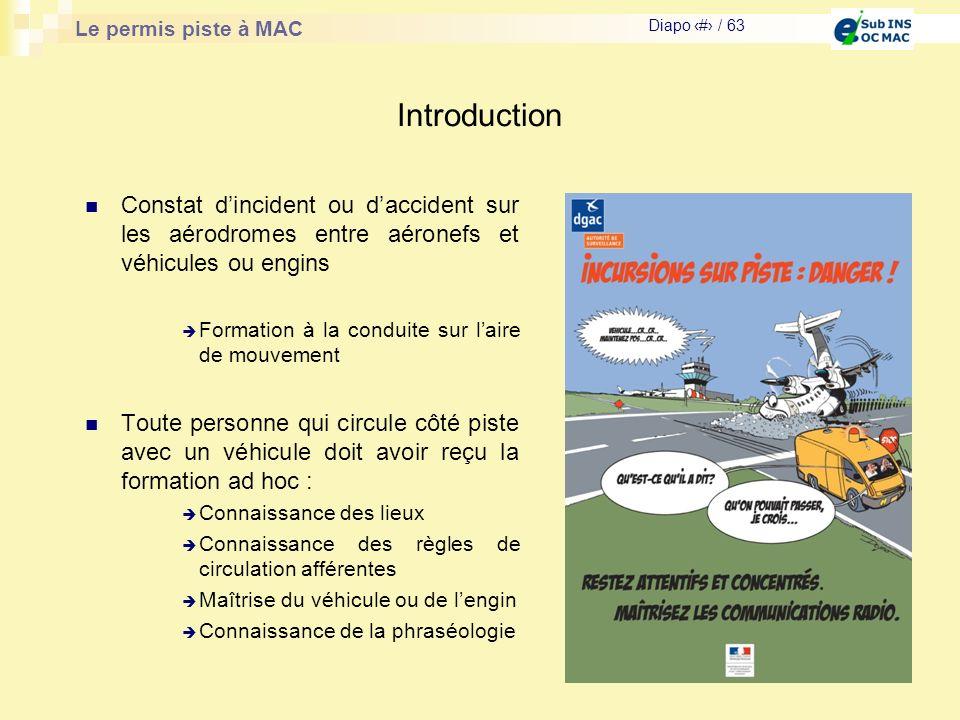 Le permis piste à MAC Diapo # / 63 Introduction Constat dincident ou daccident sur les aérodromes entre aéronefs et véhicules ou engins Formation à la