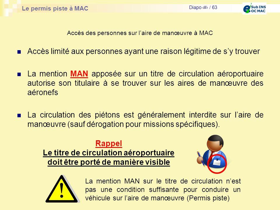Le permis piste à MAC Diapo # / 63 Accès des personnes sur laire de manœuvre à MAC Accès limité aux personnes ayant une raison légitime de sy trouver
