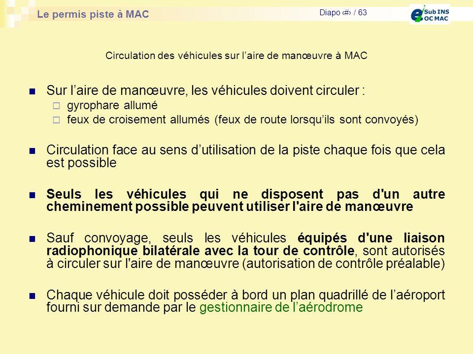 Le permis piste à MAC Diapo # / 63 Sur laire de manœuvre, les véhicules doivent circuler : gyrophare allumé feux de croisement allumés (feux de route