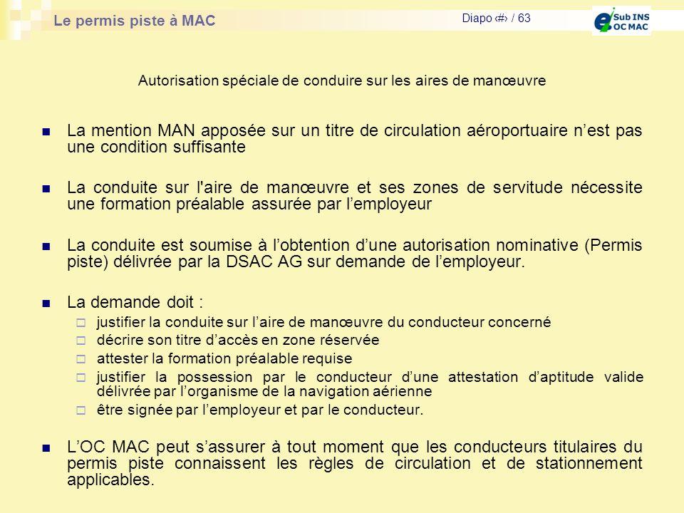 Le permis piste à MAC Diapo # / 63 La mention MAN apposée sur un titre de circulation aéroportuaire nest pas une condition suffisante La conduite sur