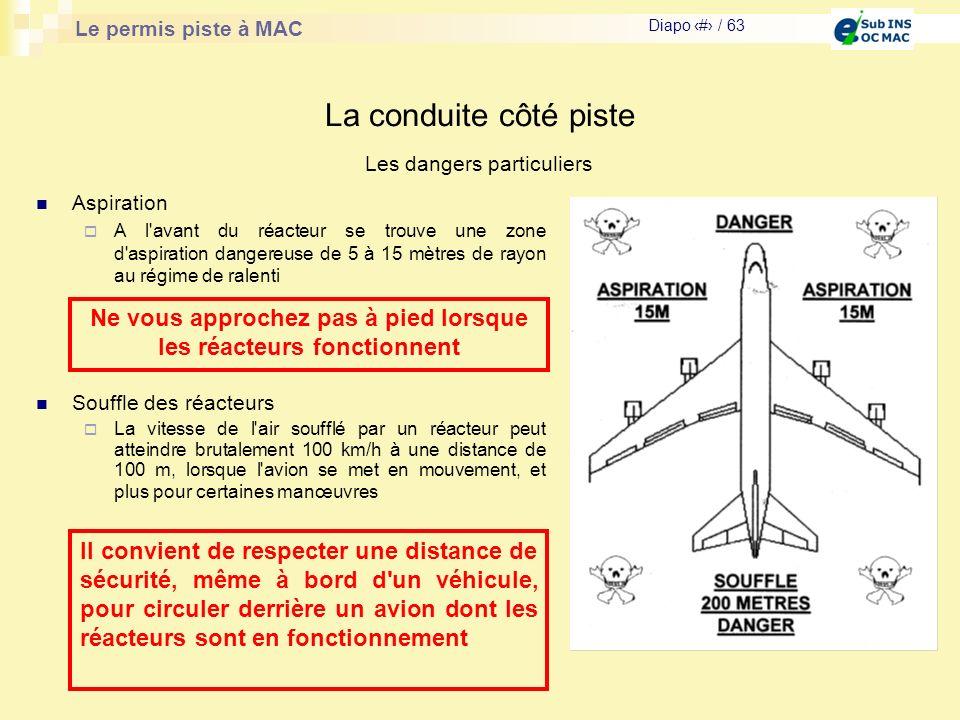 Le permis piste à MAC Diapo # / 63 La conduite côté piste Les dangers particuliers Souffle des réacteurs La vitesse de l'air soufflé par un réacteur p