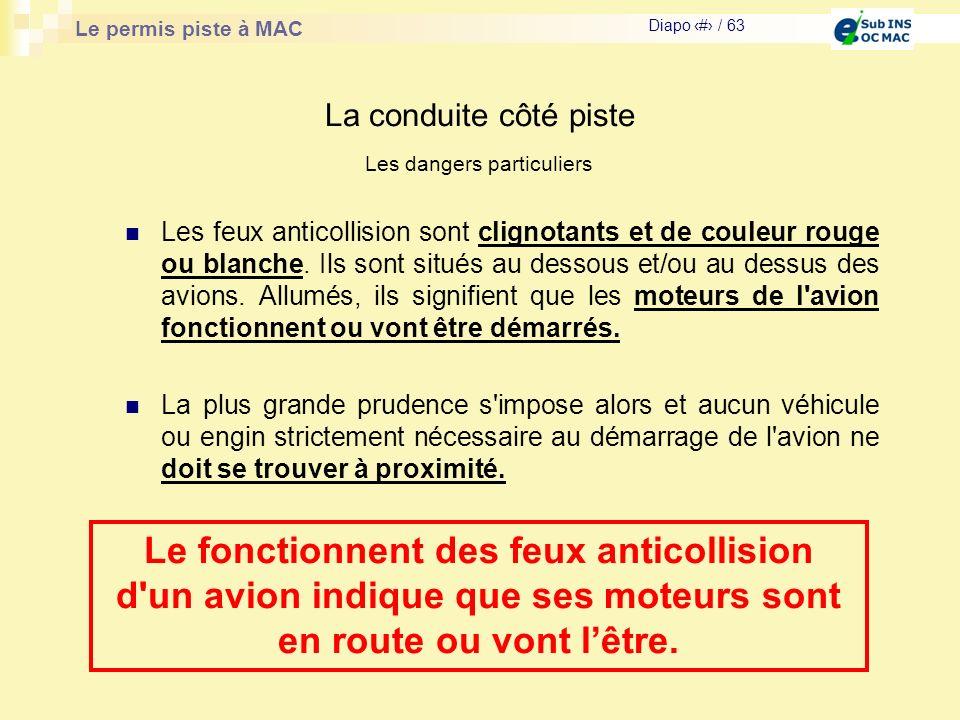 Le permis piste à MAC Diapo # / 63 La conduite côté piste Les feux anticollision sont clignotants et de couleur rouge ou blanche. Ils sont situés au d
