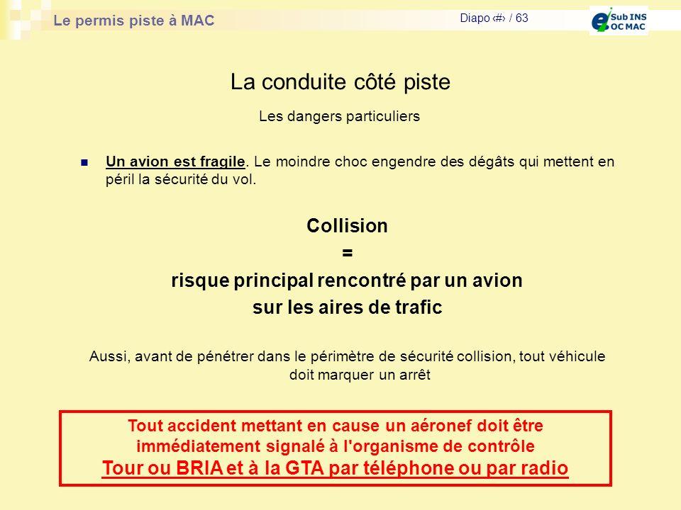 Le permis piste à MAC Diapo # / 63 La conduite côté piste Un avion est fragile. Le moindre choc engendre des dégâts qui mettent en péril la sécurité d