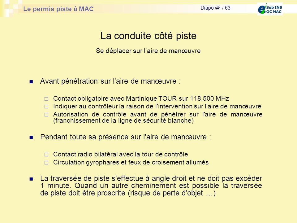 Le permis piste à MAC Diapo # / 63 La conduite côté piste Avant pénétration sur laire de manœuvre : Contact obligatoire avec Martinique TOUR sur 118,5