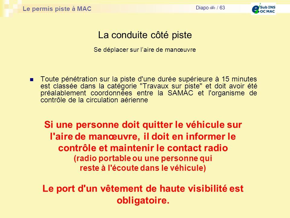 Le permis piste à MAC Diapo # / 63 La conduite côté piste Toute pénétration sur la piste d'une durée supérieure à 15 minutes est classée dans la catég