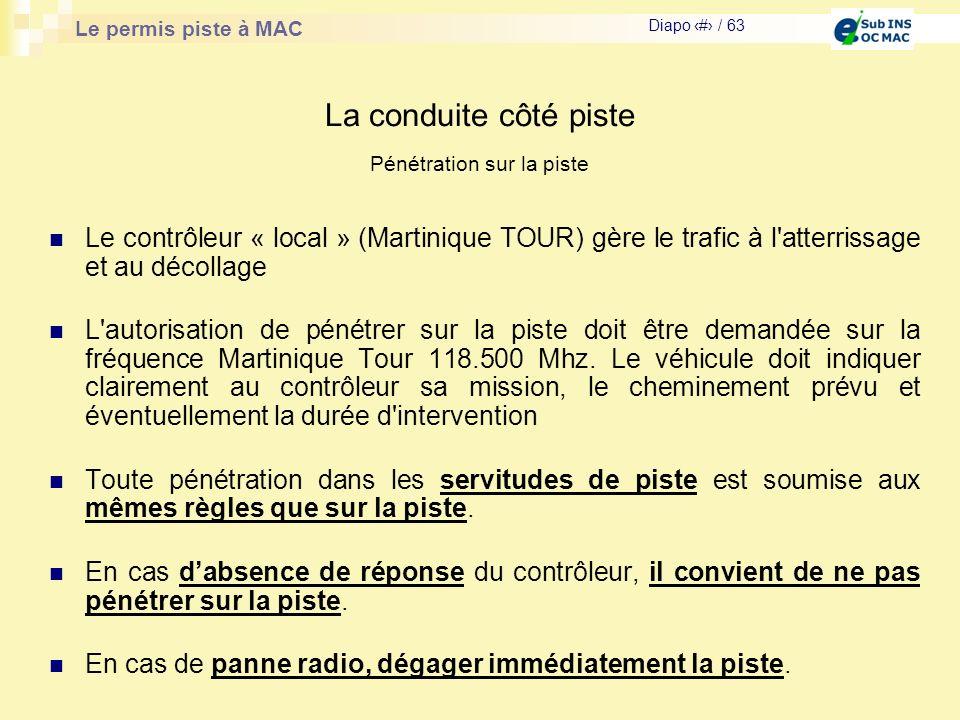 Le permis piste à MAC Diapo # / 63 La conduite côté piste Le contrôleur « local » (Martinique TOUR) gère le trafic à l'atterrissage et au décollage L'