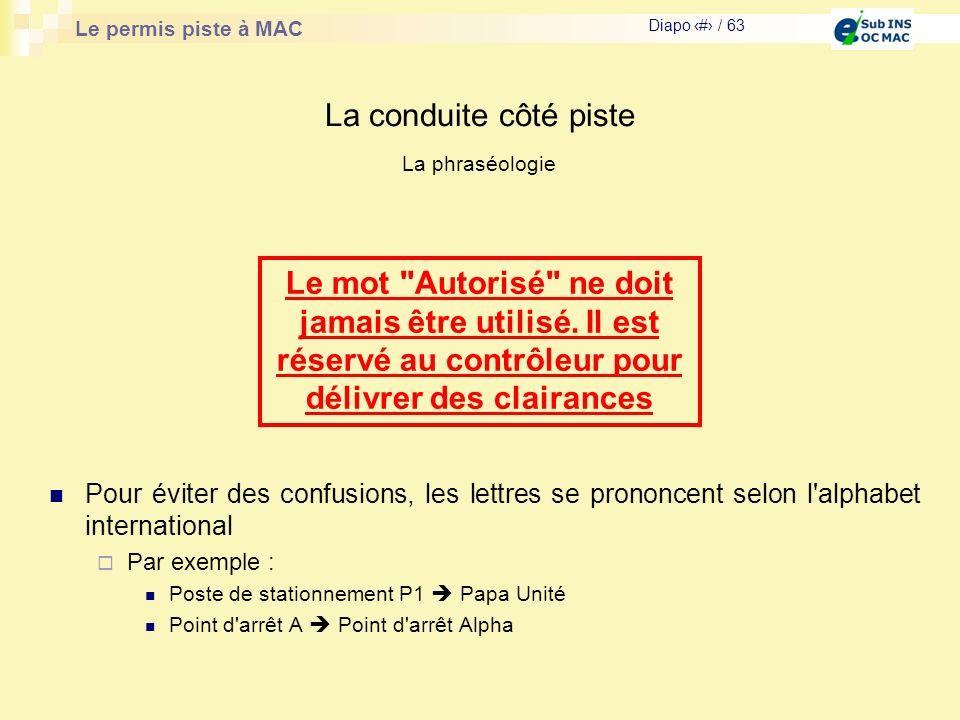 Le permis piste à MAC Diapo # / 63 La conduite côté piste La phraséologie Pour éviter des confusions, les lettres se prononcent selon l'alphabet inter