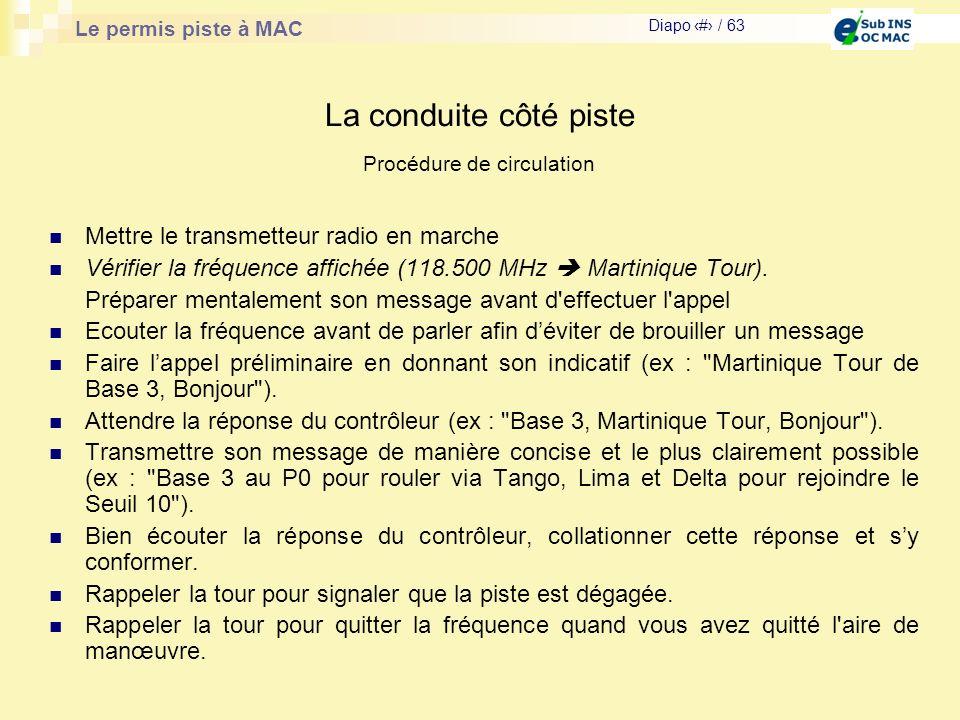 Le permis piste à MAC Diapo # / 63 La conduite côté piste Mettre le transmetteur radio en marche Vérifier la fréquence affichée (118.500 MHz Martiniqu