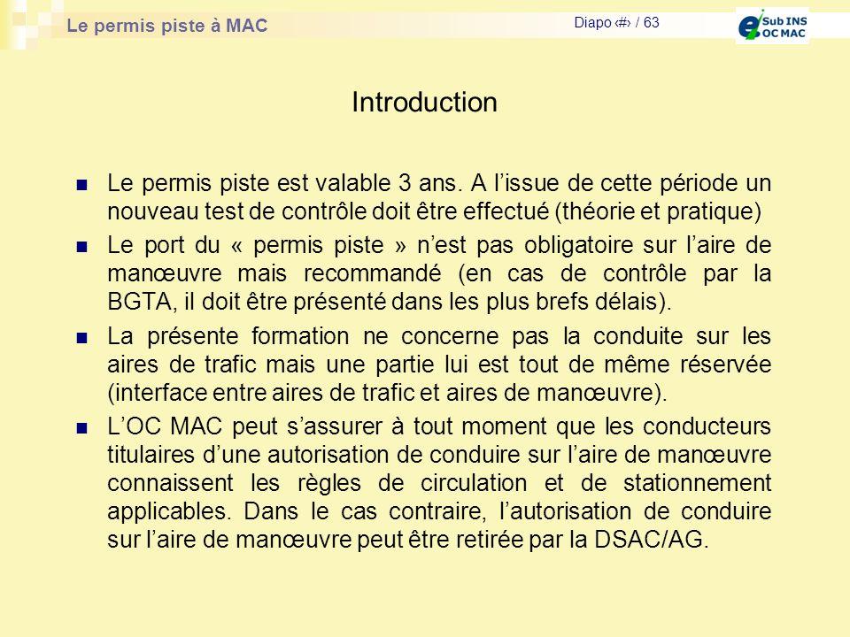 Le permis piste à MAC Diapo # / 63 Introduction Le permis piste est valable 3 ans. A lissue de cette période un nouveau test de contrôle doit être eff