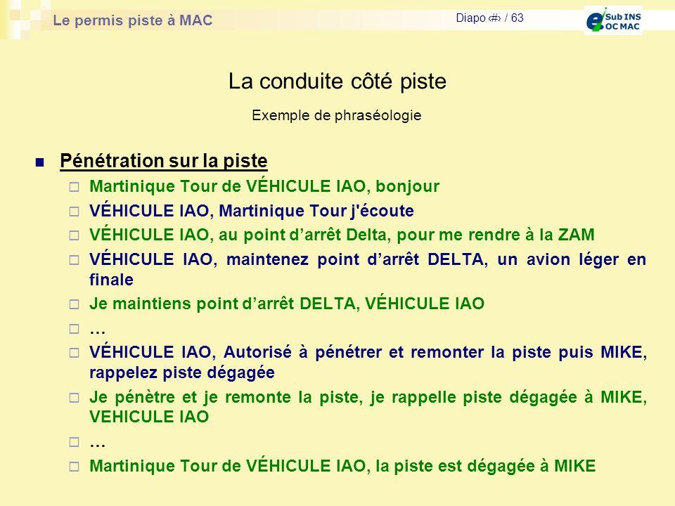 Le permis piste à MAC Diapo # / 63 La conduite côté piste Pénétration sur la piste Martinique Tour de VÉHICULE IAO, bonjour VÉHICULE IAO, Martinique T