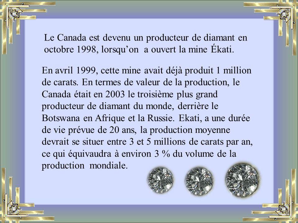 En avril 1999, cette mine avait déjà produit 1 million de carats.