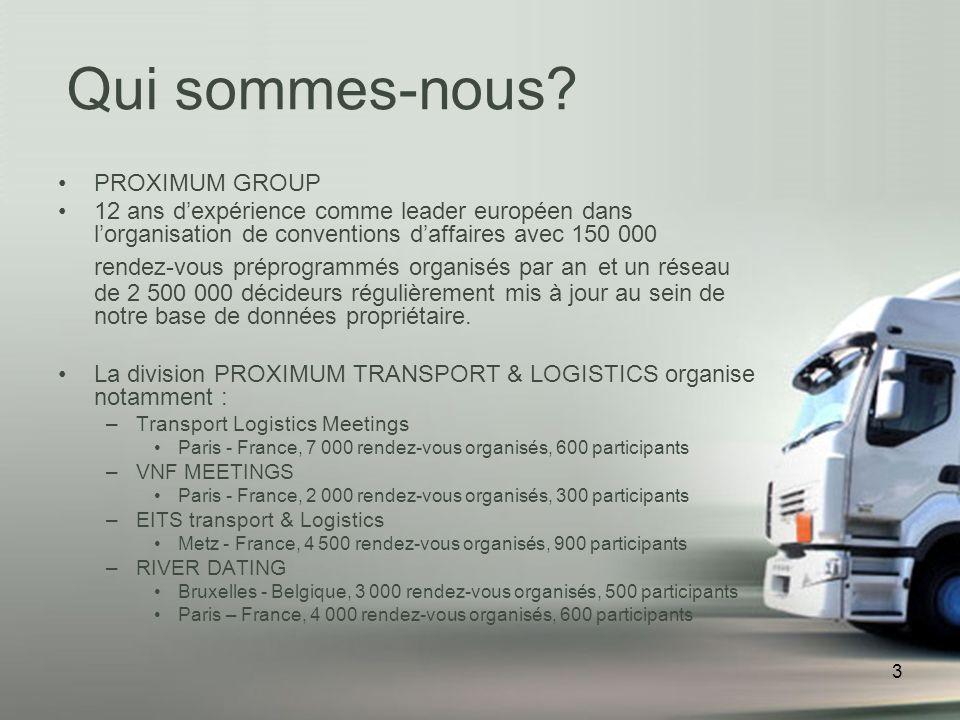 3 PROXIMUM GROUP 12 ans dexpérience comme leader européen dans lorganisation de conventions daffaires avec 150 000 rendez-vous préprogrammés organisés par an et un réseau de 2 500 000 décideurs régulièrement mis à jour au sein de notre base de données propriétaire.