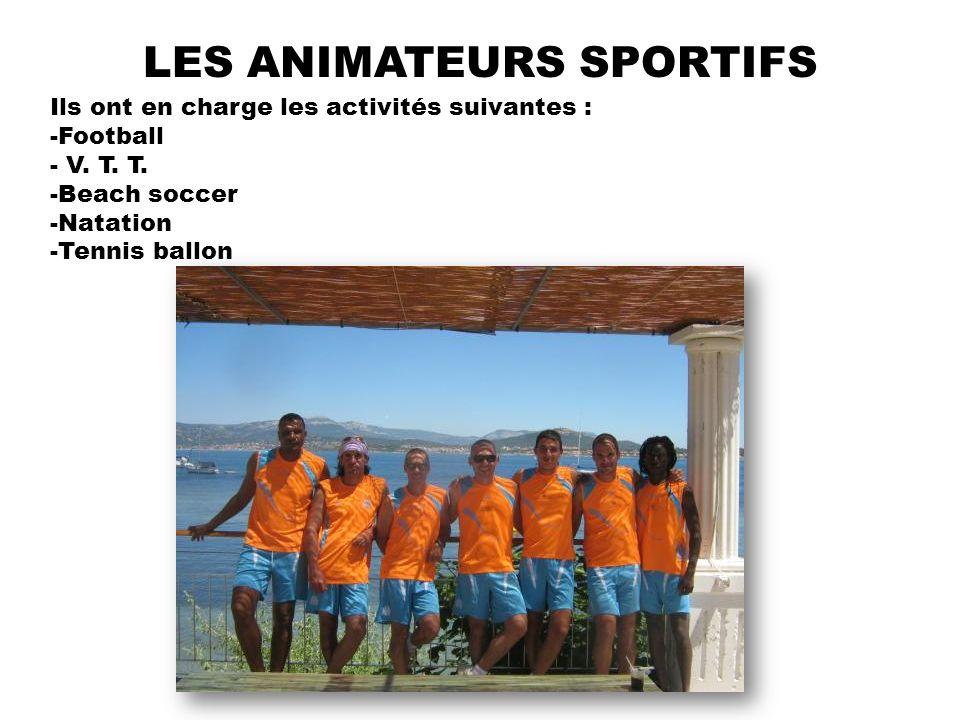 LES ANIMATEURS SPORTIFS Ils ont en charge les activités suivantes : -Football - V. T. T. -Beach soccer -Natation -Tennis ballon
