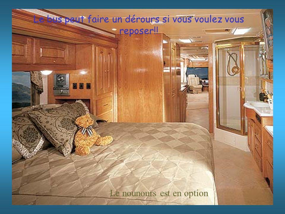 Le nounours est en option Le bus peut faire un dérours si vous voulez vous reposer!!