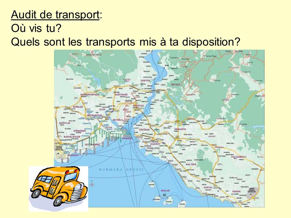 Audit de transport: Où vis tu? Quels sont les transports mis à ta disposition?