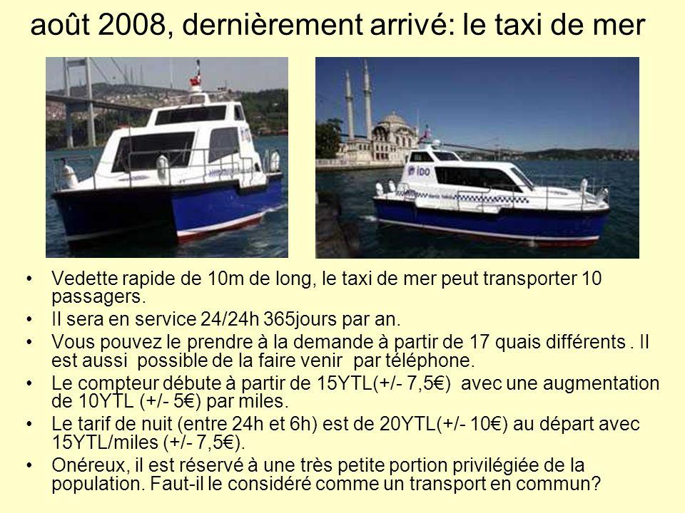 août 2008, dernièrement arrivé: le taxi de mer Vedette rapide de 10m de long, le taxi de mer peut transporter 10 passagers. Il sera en service 24/24h
