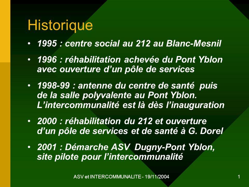 ASV et INTERCOMMUNALITE - 19/11/2004 1 Historique 1995 : centre social au 212 au Blanc-Mesnil 1996 : réhabilitation achevée du Pont Yblon avec ouvertu