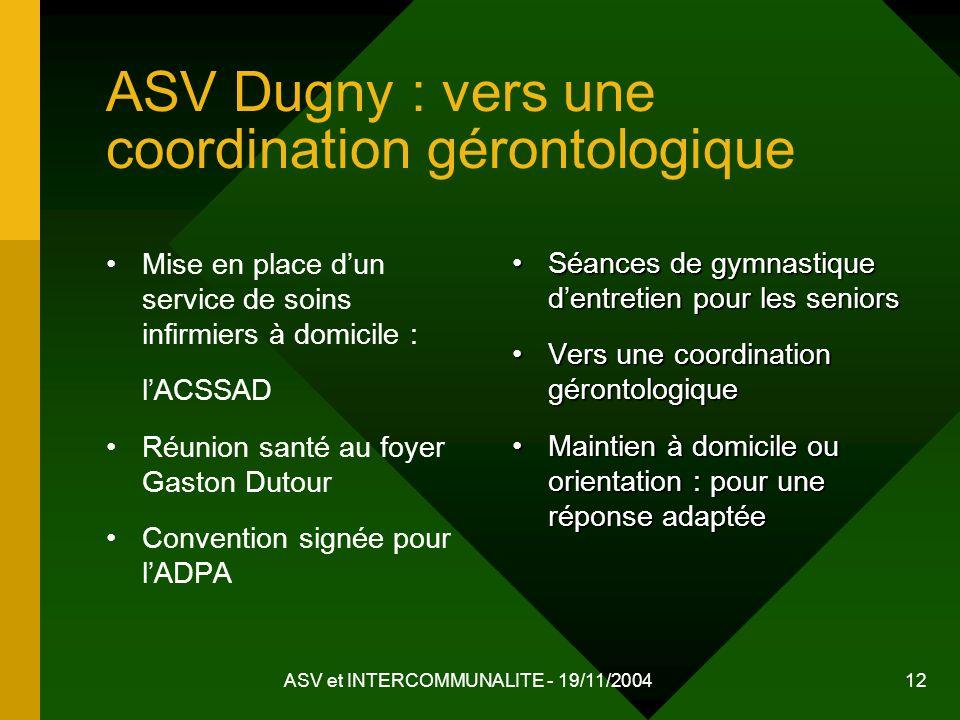 ASV et INTERCOMMUNALITE - 19/11/2004 12 ASV Dugny : vers une coordination gérontologique Mise en place dun service de soins infirmiers à domicile : lA