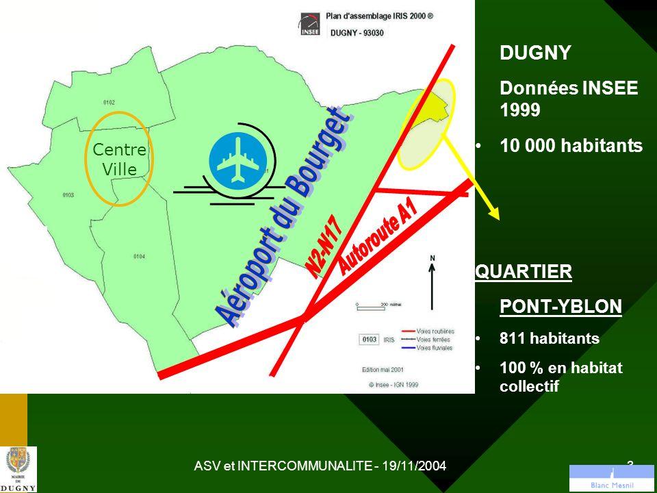 ASV et INTERCOMMUNALITE - 19/11/2004 14 ASV Dugny : Coordination sociale Donner un nouvel élan au Réseau Insertion Santé (RIS) Permanence ANPE et AS CAF AU C.M.S.