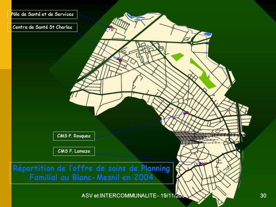 ASV et INTERCOMMUNALITE - 19/11/2004 30 Répartition de loffre de soins de Planning Familial au Blanc-Mesnil en 2004 Centre de Santé St Charles CMS F.