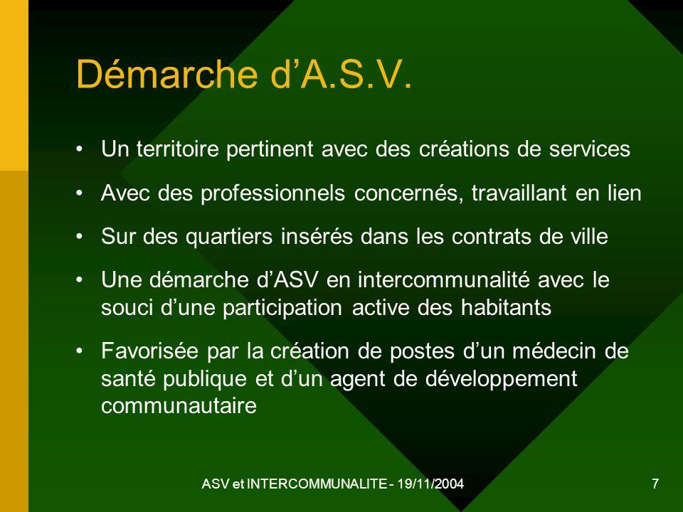 ASV et INTERCOMMUNALITE - 19/11/2004 7 Démarche dA.S.V. Un territoire pertinent avec des créations de services Avec des professionnels concernés, trav