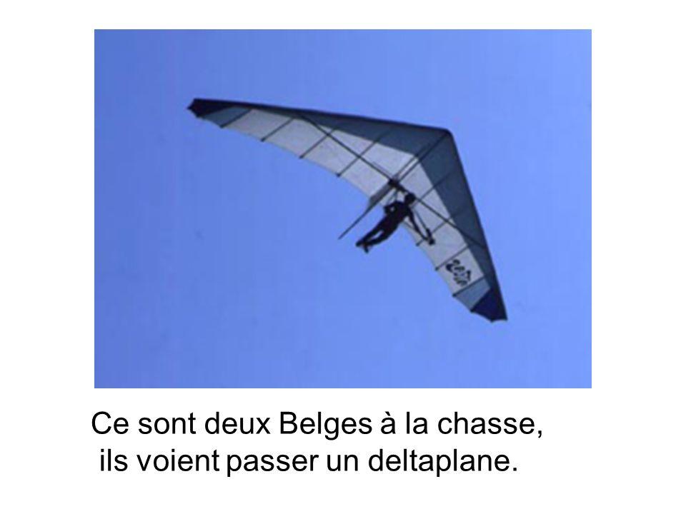 Ce sont deux Belges à la chasse, ils voient passer un deltaplane.