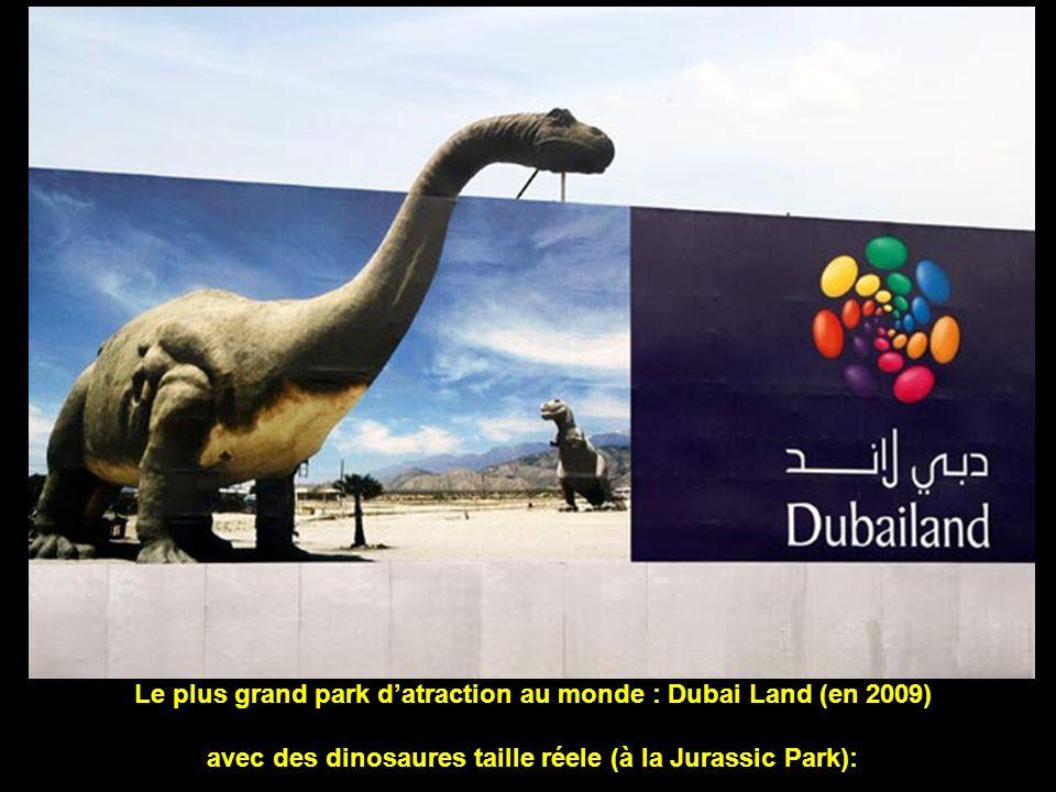 Le plus grand park datraction au monde : Dubai Land (en 2009) avec des dinosaures taille réele (à la Jurassic Park):