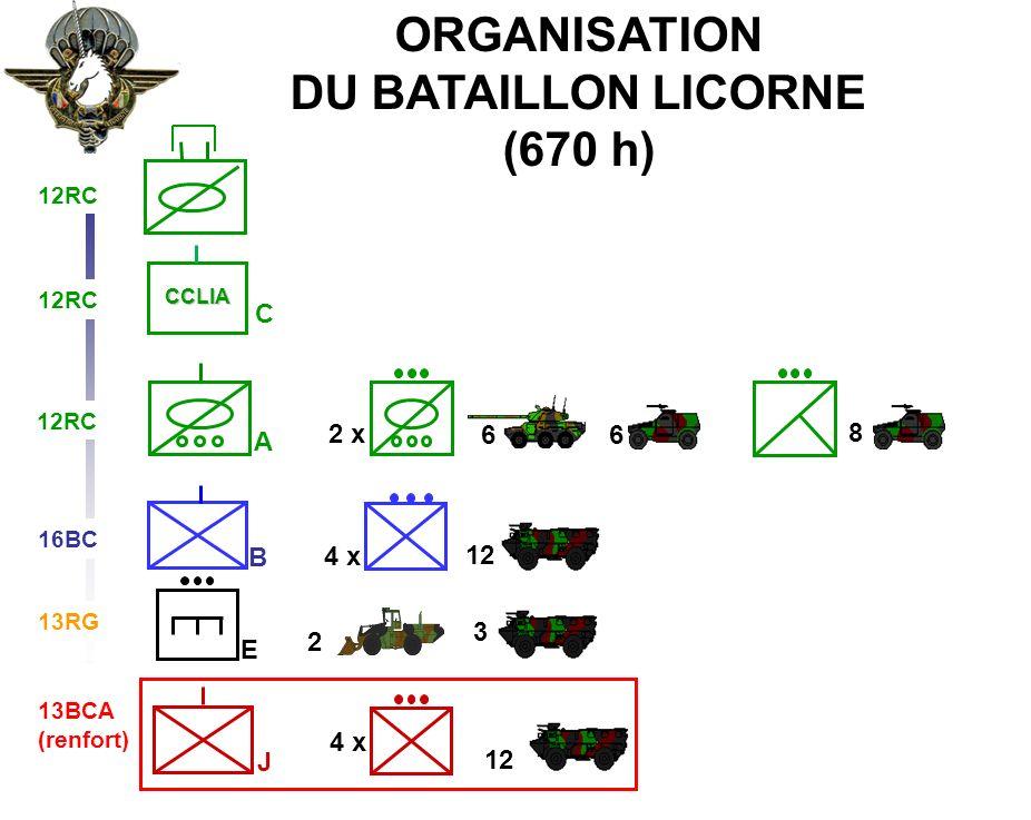 BATAILLON L ICORNEMANDAT XXV 4 x 12 ORGANISATION DU BATAILLON LICORNE (670 h) 2 x 66 8 A B E 12RC CCLIA C 16BC 13RG 13BCA (renfort) 2 3 4 x 12 J 12RC