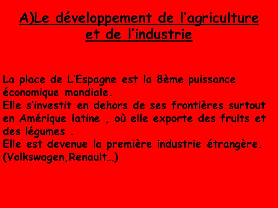 A)Le développement de lagriculture et de lindustrie La place de LEspagne est la 8ème puissance économique mondiale.
