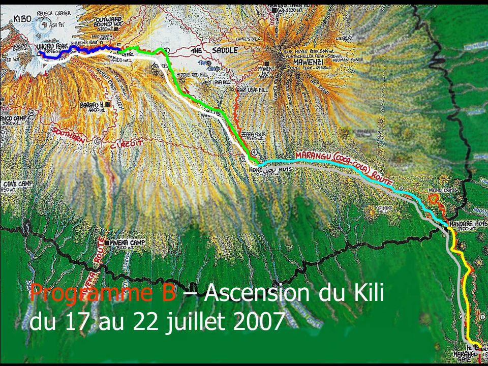 Programme B – Ascension du Kili du 17 au 22 juillet 2007