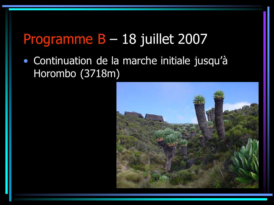 Programme B – 18 juillet 2007 Continuation de la marche initiale jusquà Horombo (3718m)