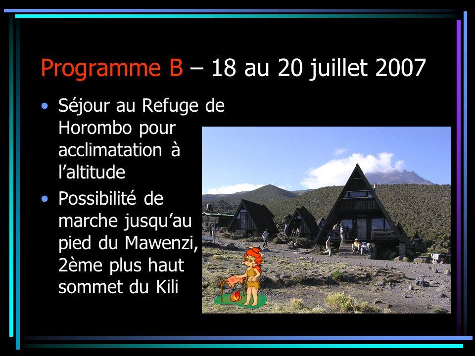 Programme B – 18 au 20 juillet 2007 Séjour au Refuge de Horombo pour acclimatation à laltitude Possibilité de marche jusquau pied du Mawenzi, 2ème plu