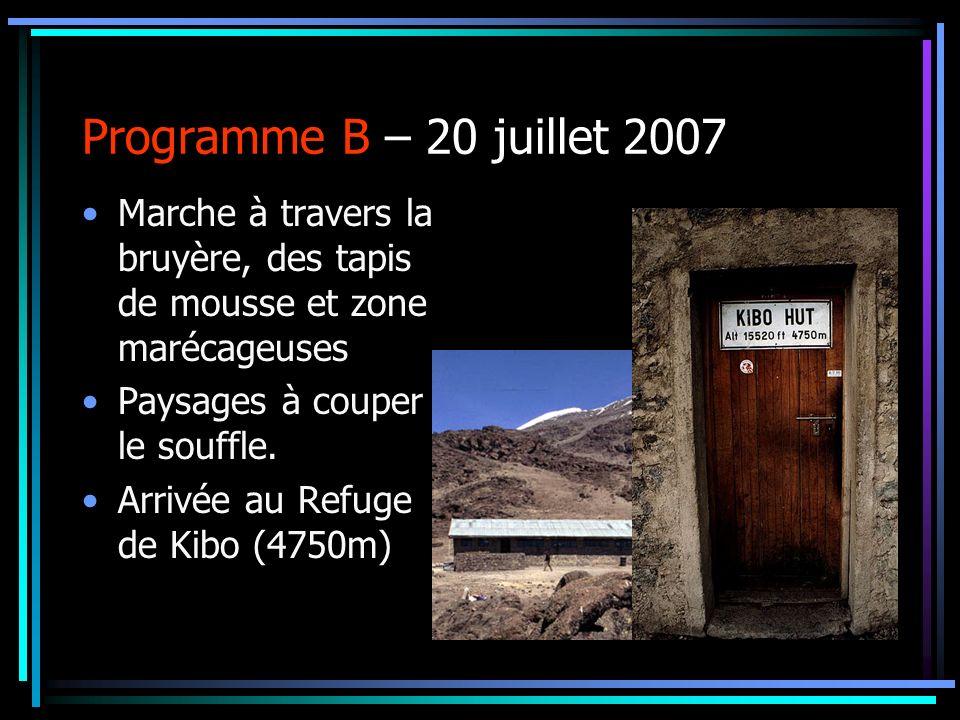 Programme B – 20 juillet 2007 Marche à travers la bruyère, des tapis de mousse et zone marécageuses Paysages à couper le souffle. Arrivée au Refuge de